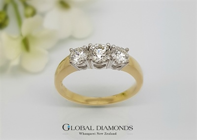 18ct Yellow Gold Classic Three Stone Diamond Ring