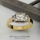 18ct Princess Cut Three Stone Diamond Ring