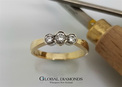 9ct Gold Rubover Set Diamond Three Stone Ring