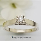 9ct White Gold Four Claw Solitaire Diamond Ring