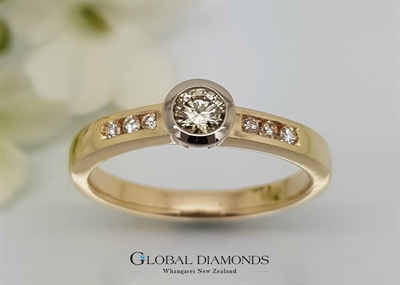 9ct Yellow Gold Rubset Diamond Ring