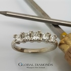 18ct White Gold Princess Cut Five Stone Diamond Ring