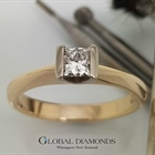 9ct Yellow Gold Semi Rub Set Princess Cut Diamond Ring