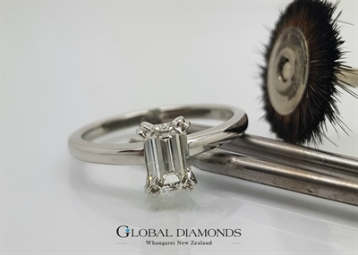 Platinum and Emerald Cut Diamond Ring