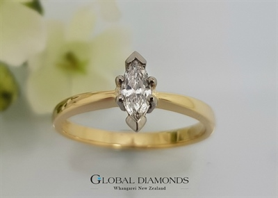 18ct Yellow Gold Marquise Cut Diamond Ring