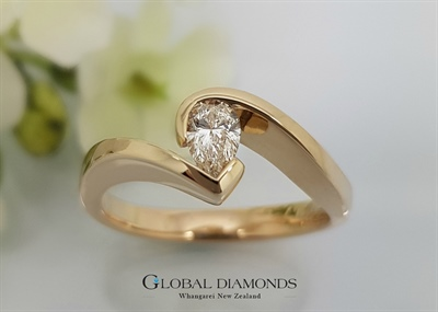 9ct Yellow Gold Pear Shape Solitaire Diamond Ring