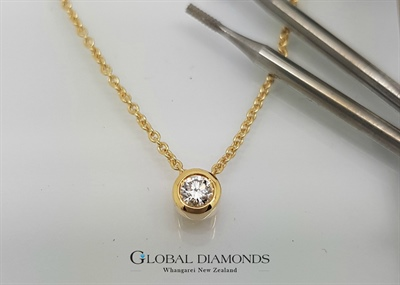18ct Yellow Gold Diamond Slider Pendant