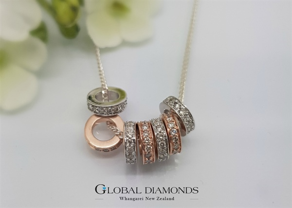 10ct Rose and White Gold Rings of Luck Pendant