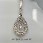 9ct White Gold Vintage Styled Diamond Set Pendant