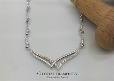 18ct White Gold Fancy Link Diamond Set Necklace