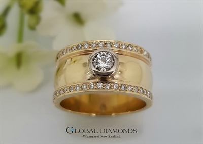9ct Yellow Gold Wide Diamond Set Dress Ring