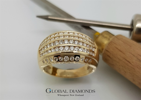 9ct Yellow Gold Channel Set Diamond Dress Ring
