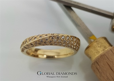 9ct Yellow Gold Pavé Diamond Dress Ring