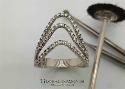 18ct White Gold Three Row Diamond Dress Ring