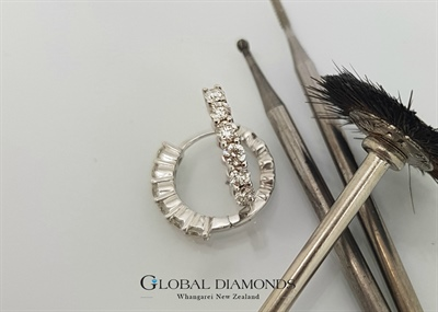 9ct White Gold Claw Set Diamond Hoop Earrings