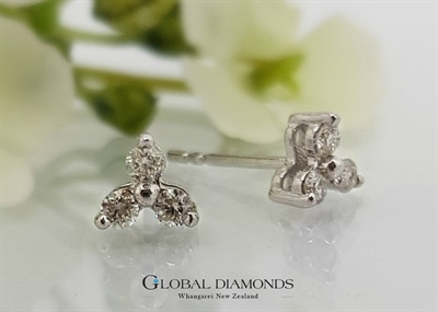 9ct White Gold Stud Earring With Three Claw Set Diamonds