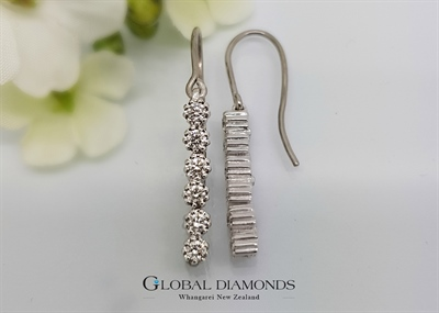 9ct White Gold Diamond Set Drop Earrings