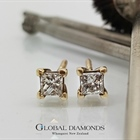 9ct Yellow Gold Princess Cut Diamond Stud Earrings