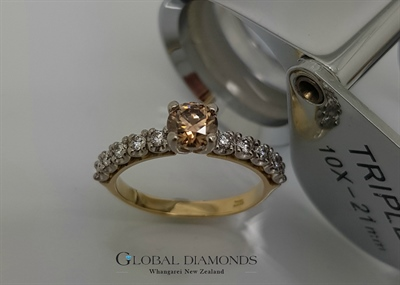 18ct Two Tone Champagne Diamond Ring