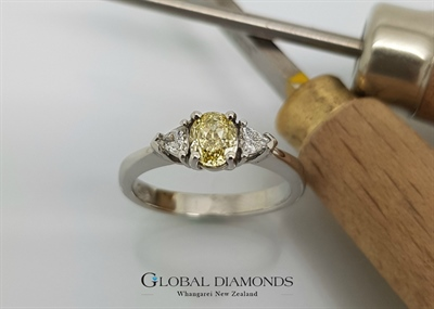 Platinum and Natural Yellow Diamond Ring