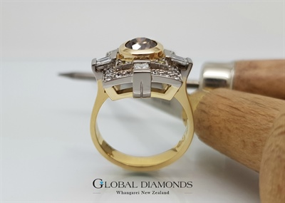 18ct Two Tone Fancy Coloured Diamond Ring