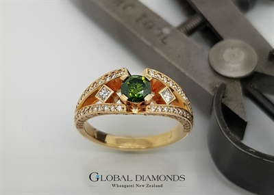 9ct Yellow Gold Green and White Diamond Ring