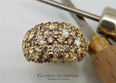 9ct Yellow Gold Champagne Diamond Dome Ring