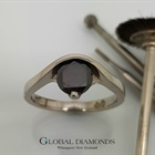 9ct White Gold Black Diamond Ring