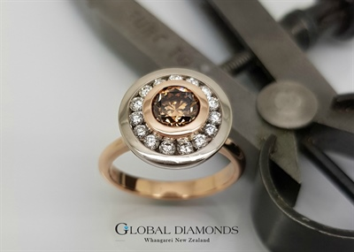 9ct Rose and White Gold Cognac Diamond Cluster Ring