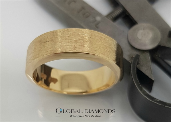 9ct Yellow Gold Brush Finished Ring