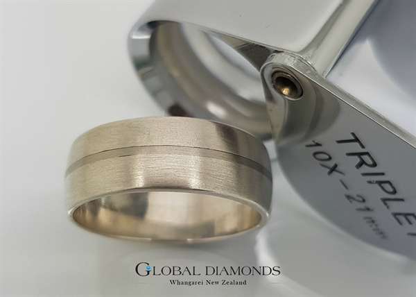 Wide Palladium and Sterling Silver Ring