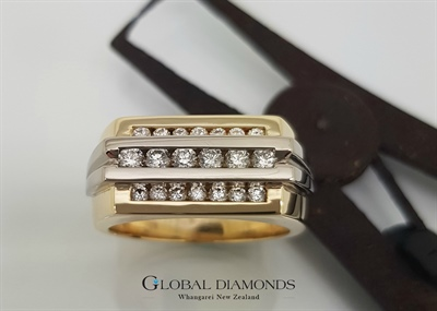 9ct Two Tone Channel Set Diamond Ring