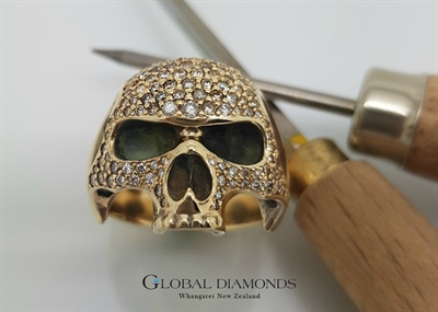 9ct Yellow Gold Diamond Set Skull Ring