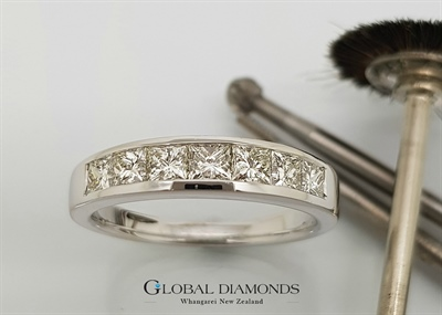 18ct White Gold Channel Set Princess Cut Diamond Ring
