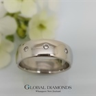 9ct White Gold Punch Set Diamond Ring