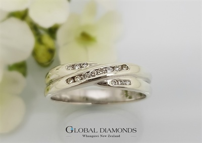 9ct White Gold Channel Set Cross Over Ring