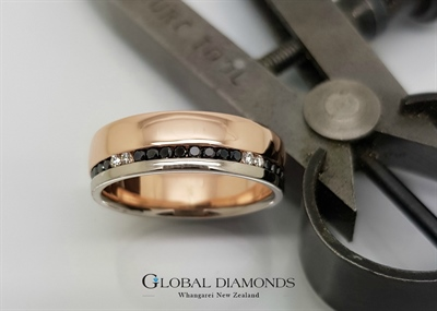 9ct Rose and White Gold Black Diamond Ring