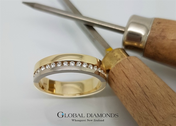 9ct Two Tone Channel Set Ring