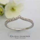 9ct White Gold V Shaped Diamond Set Ring