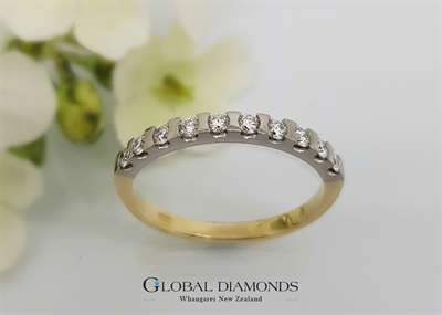 18ct Two Tone Gold Semi Rub Set Diamond Ring