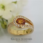 18ct Yellow Gold Orange Sapphire and Diamond Ring