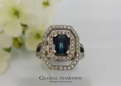 18ct White Gold Blue Tourmaline and Diamond Ring