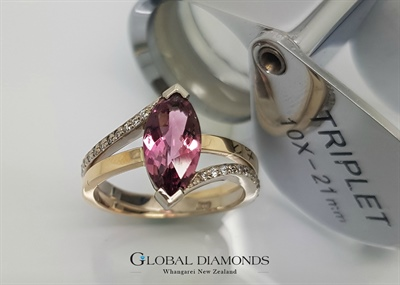 9ct Two Tone Gold and Pink Tourmaline Ring