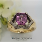 9ct Two Tone Purple Spinel and Diamond Ring