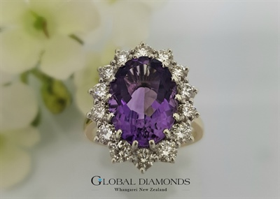 9ct Amethyst and Diamond Cluster Ring