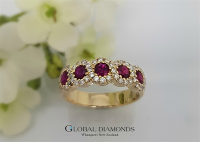 14ct Yellow Gold Ruby and Diamond Ring