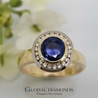 9ct Yellow Gold Blue Sapphire Cluster Ring