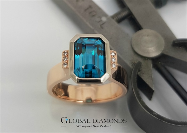 9ct Rose Gold Natural Blue Zircon Ring