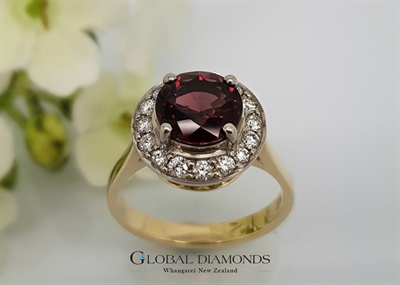 9ct Yellow Gold Rhodalite Garnet Halo Ring