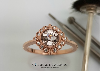 9ct Rose Gold Morganite Halo Ring
